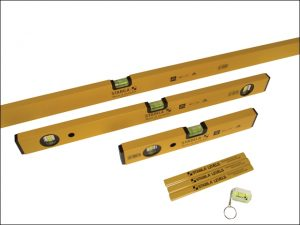 A stock photo showing what comes in the Stabila spirit level pack, with three spirit levels of varying sizes, a pack of carpenters pencils and a key ring level