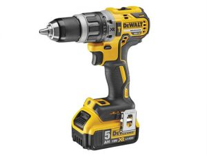 A stock photo on a white background of the Dewalt brushless hammer drill 18 volt with yellow and black colour-way
