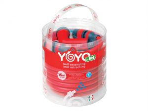 A photo of the Flopro YOYO Hose curled up in its clear packaging tub, showcasing the red hose