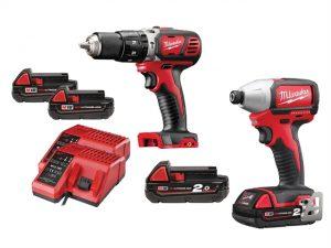 Combi Drill & Impact Driver Kit 18 Volt 2 x 1.5Ah & 2 x 2.0Ah Li-Ion