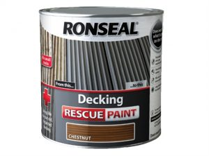 A 5 litre tub of Ronseal decking rescue paint in Chestnut