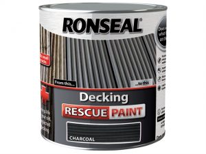 A stock photo of a 5 litre tin of Ronseal Decking Rescue Paint in the colour charcoal