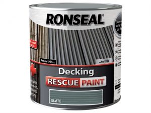 The tin for the Slate Ronseal Decking Rescue Paint, showing decking and a box with the slate colour