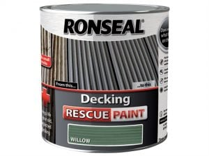 A photo of a 5 litre tub of Ronseal's willow decking rescue paint