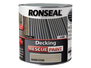 A stock photo of a tin of Ronseal Decking Rescue Paint Warm Stone 2.5 Litre