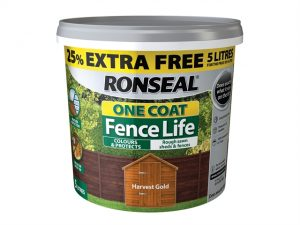 One Coat Fence Life Harvest Gold New 4 Litre +25%