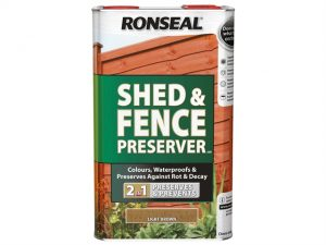 A tin of Ronseal Shed & Fence Preserver 5 litres