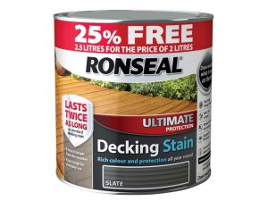 A stock photo of Ronseal Ultimate Decking Stain Slate 2 Litre but advertising an extra 25% free in a red banner around the top of the tin