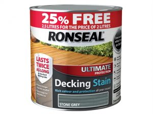 A photo of a tin of Ronseal ultimate decking stain, with a red lip around the top of the tin advertising 25% free extra