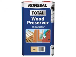 A blue Ronseal tin for the total wood preserver in clear