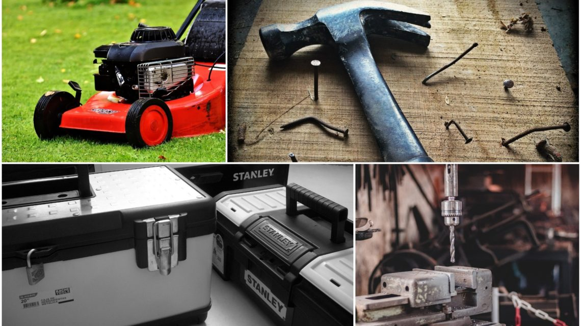 a collection of building trade supplies, such as drill bits, lawn mowers and hammers