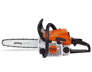 A profiled view of the STIHL 30cm petrol chainsaw in orange
