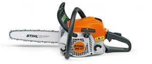 The STIHL MS171 petrol chainsaw in black and orange