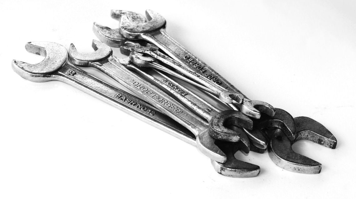 A selection of wrenches from a tool kit
